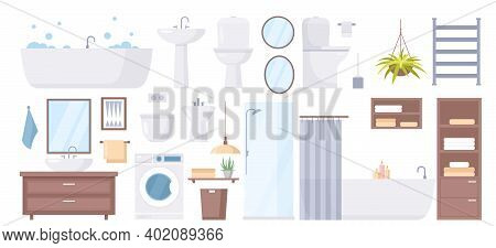 Cartoon Sanitary Hygiene Furnishings Of Washroom Restroom Collection With Bathtub Shower Cabin Sink