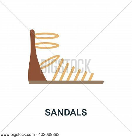 Sandals Flat Icon. Color Simple Element From Clothes Collection. Creative Sandals Icon For Web Desig