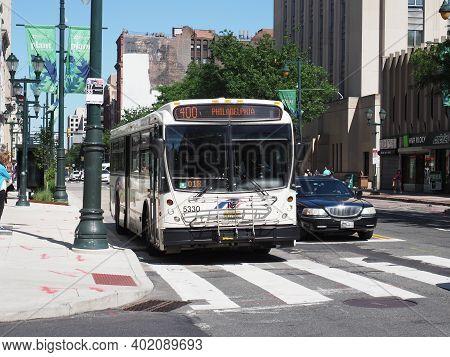 Philadelphia, Usa - June 11, 2019: Image Of A Bus Of The New Jersey Transit Corporation Standing Sti