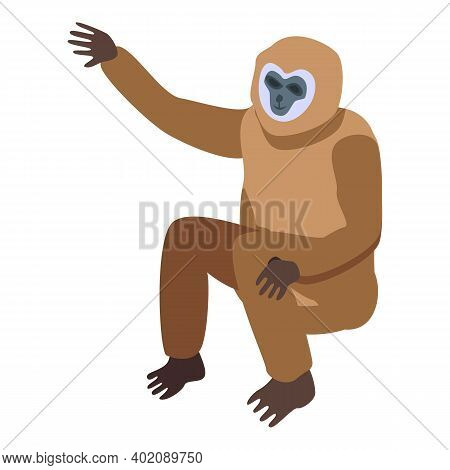 Gibbon Zoo Icon. Isometric Of Gibbon Zoo Vector Icon For Web Design Isolated On White Background