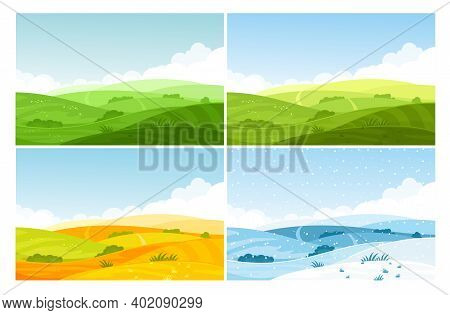 Nature Field Landscape In Four Seasons Set, Cartoon Summer Spring Autumn Winter Scenes