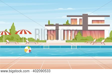 Cartoon No People Luxury Spa Poolside With Umbrella, Lounge And Modern Mansion Villa Or Tropical Res