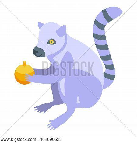 Orange Fruit Lemur Icon. Isometric Of Orange Fruit Lemur Vector Icon For Web Design Isolated On Whit