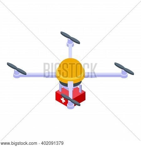 Drone Delivers First Aid Kit Icon. Isometric Of Drone Delivers First Aid Kit Vector Icon For Web Des