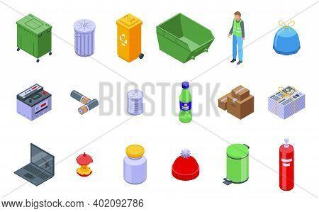 Waste Icons Set. Isometric Set Of Waste Vector Icons For Web Design Isolated On White Background