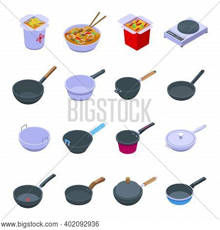 Wok Frying Pan Icons Set. Isometric Set Of Wok Frying Pan Vector Icons For Web Design Isolated On Wh