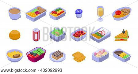 Airline Food Icons Set. Isometric Set Of Airline Food Vector Icons For Web Design Isolated On White