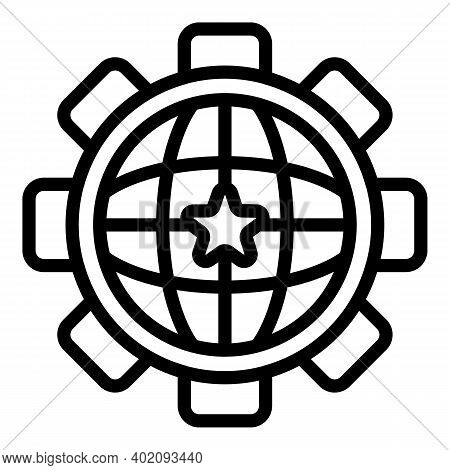 Global Move Effort Icon. Outline Global Move Effort Vector Icon For Web Design Isolated On White Bac