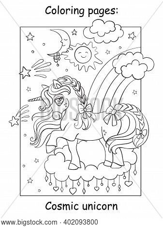 Cute Magic Unicorn Standing On The Cloud In The Night Sky. Coloring Book Page. Vector Cartoon Illust