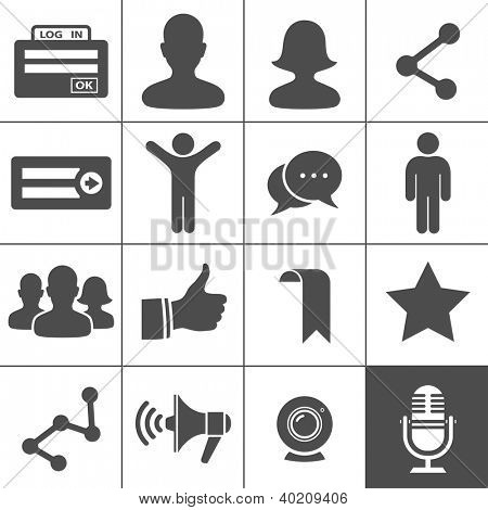 Social Network Icons. Simplus series. Vector illustration