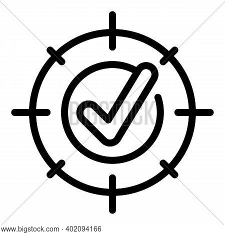 Approved Target Icon. Outline Approved Target Vector Icon For Web Design Isolated On White Backgroun