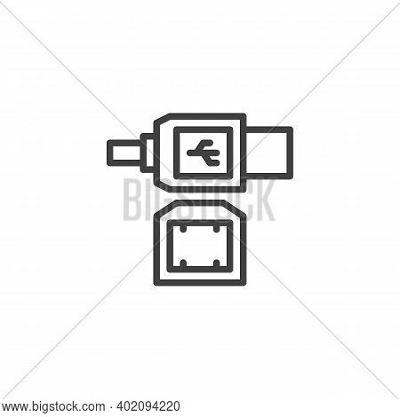 Lan Cable Plug Line Icon. Linear Style Sign For Mobile Concept And Web Design. Ethernet Connectors A