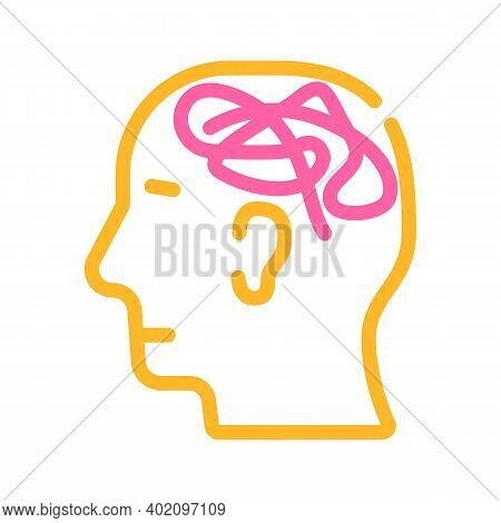 Mess In Head Color Icon Vector Illustration