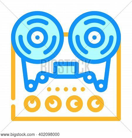Reel-to-reel Tape Player Color Icon Vector Illustration