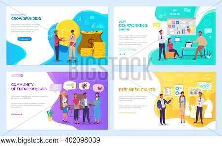 Strategic Planning And Business Management Concept Webpage Set. Modern Planning Innovations. Crowdfu