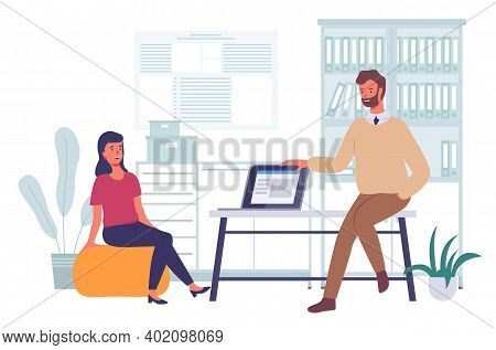 Businessmen Dressed In Formal Clothes Are Sitting In Office Room With Laptop And Talking. Office Wor