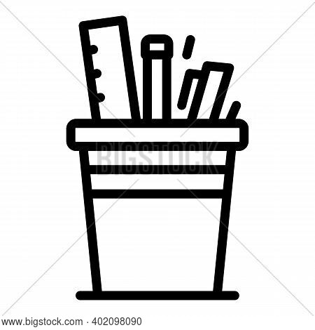 Organizer For Pens, Rulers Icon. Outline Organizer For Pens, Rulers Vector Icon For Web Design Isola