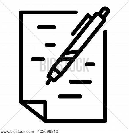 Written Test Icon. Outline Written Test Vector Icon For Web Design Isolated On White Background