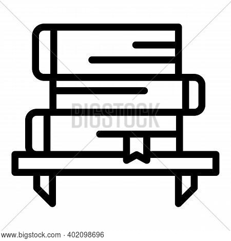 Bookshelf Icon. Outline Bookshelf Vector Icon For Web Design Isolated On White Background