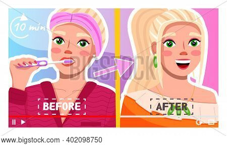 Concept Of Video Player Interface. Pretty Woman Telling About Beauty Lifehacks And Secrets, Before A
