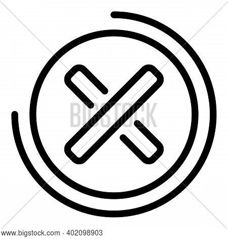 Rejected Sign Icon. Outline Rejected Sign Vector Icon For Web Design Isolated On White Background