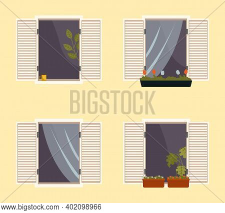 Set Of Various Balconies With Flowers In Pots. Windows With Open Shutters Vector Illustration. Windo