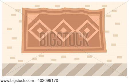 Abstract Tribal Print. Ethnic Room Decor. Fabric On The Wall Interior Design Flat Vector Illustratio