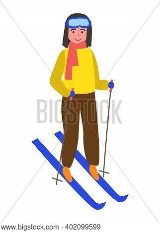 Skiing Girl On Snowy Hill. Smiling Child On Blue Ski. Winter Sport Vector Illustration Female Mounta