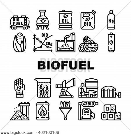 Biofuel Green Energy Collection Icons Set Vector