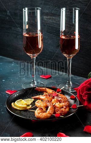 Fried Shrimp, Roses And Champagne. Original Appetizer For Valentines Day, Romantic Dinner, Vertical