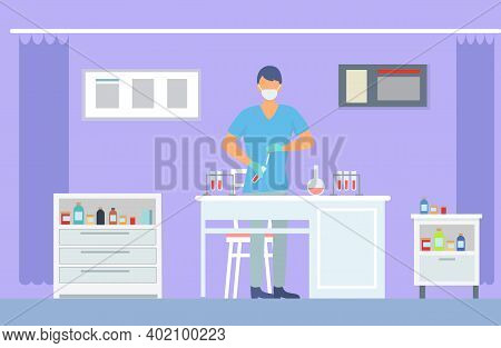 Assistant Wearing Face Mask Making Laboratory Scientific Researches Holding Flask With Liquid. Scien
