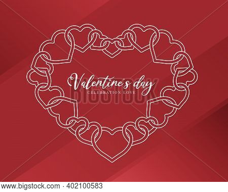 Valentine Day, Celebration Love Text In White Double Line Heart Chain Frame On Red Background Vector