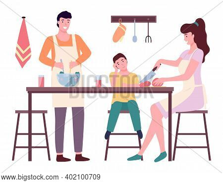 Happy Family Mom Dad And Son Cooking In Kitchen Flat Illustration. Prepearing Family Dinner On White