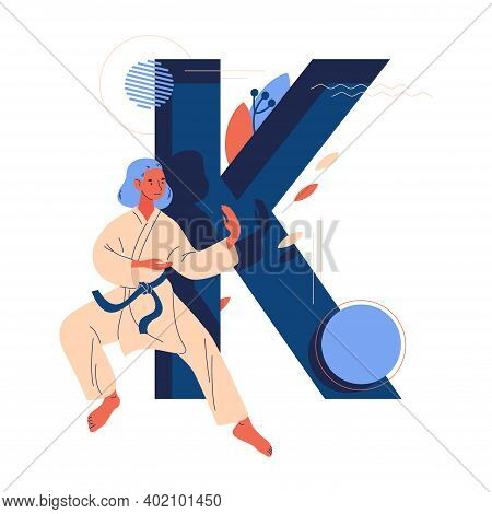 Large Letter K And Young Woman In Kimono Training Karate. Vector Sport And Martial Arts Character Is