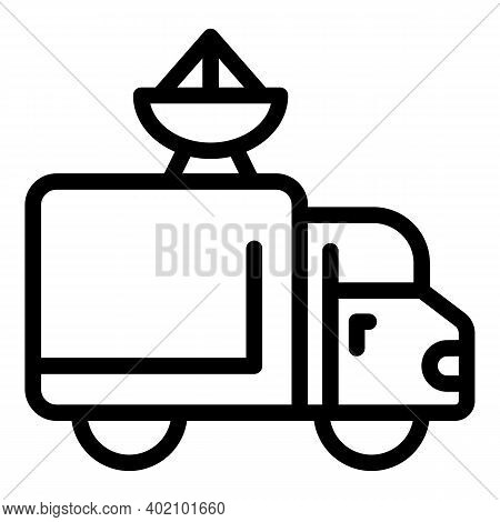 Van Actualization Icon. Outline Van Actualization Vector Icon For Web Design Isolated On White Backg