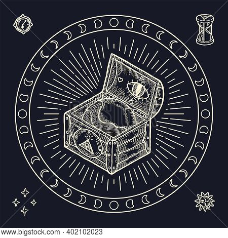Isolated Print For Tshirt. Vector Illustration Of Magic Gypsy Boho And Taro Style. Wooden Chest With