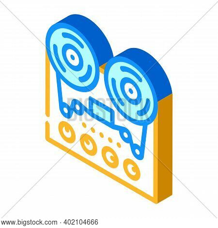 Reel-to-reel Tape Player Isometric Icon Vector Illustration
