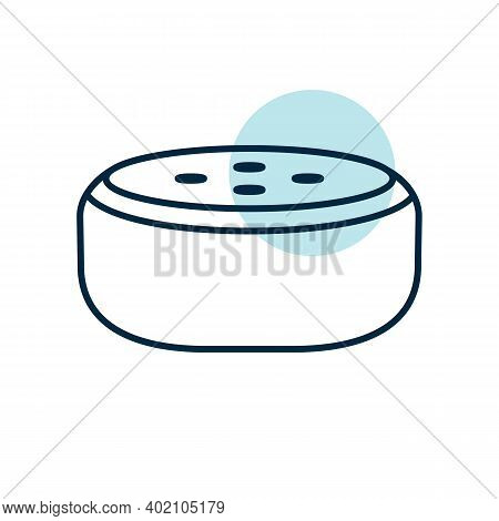 Small Smart Speaker With Voice Recognition Flat Vector Icon. Graph Symbol For Music And Sound Web Si
