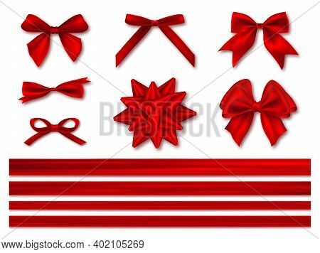 Set Of Red Gift Bows. Gift Bows With Ribbons. Horizontal Silk Red Ribbon With Decorative Bow, Realis