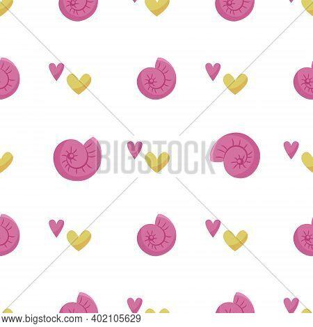 Nautical Cartoon Seamless Pattern - Cute Seashell And Hearts Seamless Digital Paper, Vector Nursery
