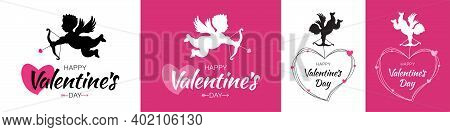 Valentines Day Card. Cupid Silhouette With Bow And Arrow. Flying Angel. Amur Symbol Of Love For Vale