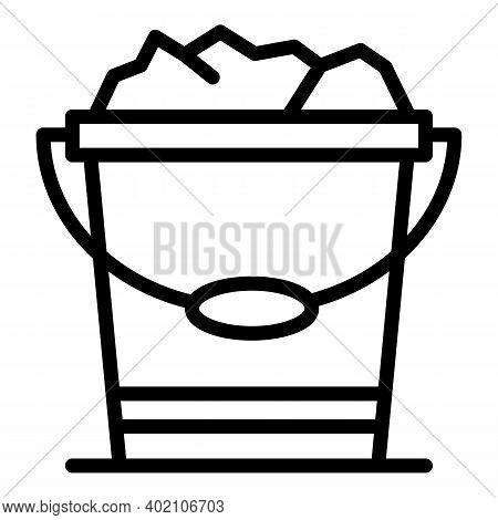 Full Farm Bucket Icon. Outline Full Farm Bucket Vector Icon For Web Design Isolated On White Backgro