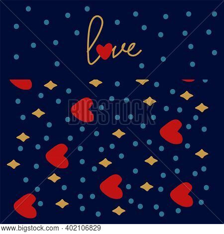 Dark Background Pattern With Gold Sequins. Background With Romantic Elements Of Red Hearts And Stars