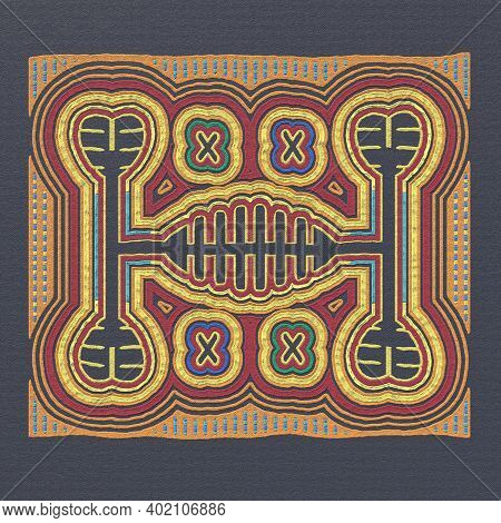 Layered Mola Pattern Fabric - Scrappy Sewing Of Indians. National Pattern Of The Ornament. Tradition