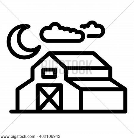 Farm Barn Icon. Outline Farm Barn Vector Icon For Web Design Isolated On White Background