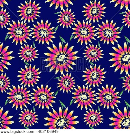 Exuberant Bold Daisy Flowering Seamless Vector Pattern. Hand Painted Tropical Flowers Decorative Bac