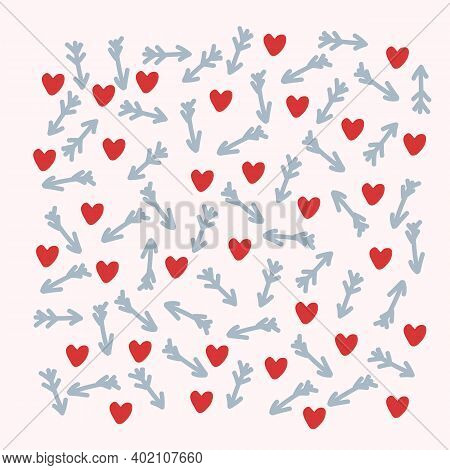 The Backdrop For The Romance Of Hearts And Arrows. A Pattern With Romantic Elements Of Red Hearts An