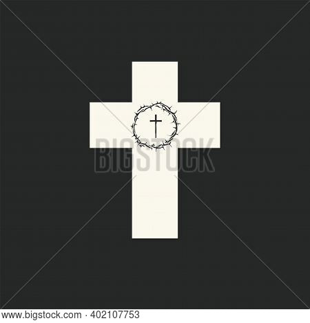 Religious Cross With Crown Of Thorns And Cross Inside. Vector Illustration Isolated On A Black Backg