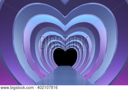 Heart-shaped Catwalk In Neon Shades. The Path Along The Hearts. 3d Render