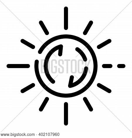 Ecology Sun Innovation Icon. Outline Ecology Sun Innovation Vector Icon For Web Design Isolated On W